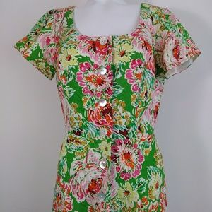 NEW linen Cold Water Creek floral rayon dress